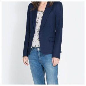 Zara Basic Navy Blue Blazer Jacket Small
